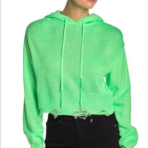 NWT Wild Honey Distressed Hooded Sweater Green S